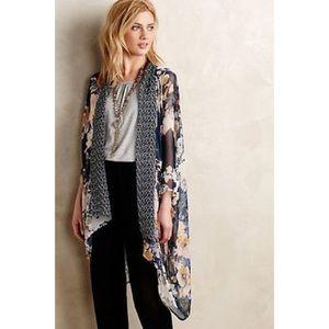 E by Eloise Anthropologie Silk Floral Kimono OS